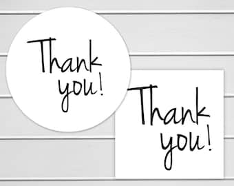 Thank You Labels, White Thank You Stickers, Printable Stickers (#160)