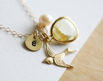 Personalized bird necklace,Mongoram necklace,Grandma,Mother Jewelry,Initial necklace,Mother's day,custom font,custom birthstone,swift charm