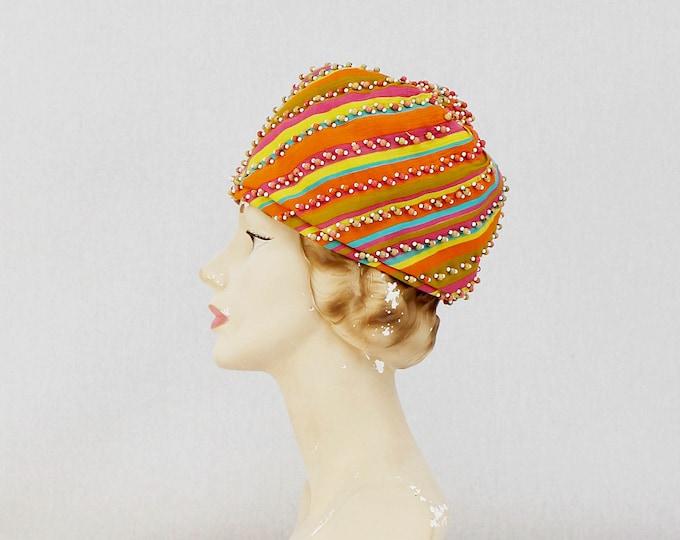Vintage 1960s Christian Dior Mod Multi Color Hat