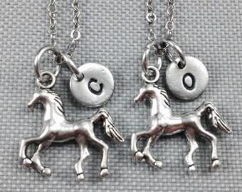 Best friend necklace, horse necklace, friendship necklace, bff necklace, horse charm necklace, animal necklace, friend necklace