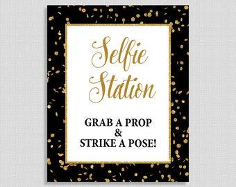 Selfie Station Table Sign, Black & Gold Glitter Confetti Shower Sign, Bridal, Baby Shower Sign,  INSTANT PRINTABLE