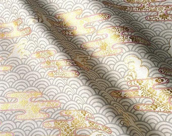 Japanese fabric, traditional pattern, background, unbleached, cotton 110 x 50 (268B)