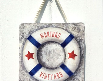 "Nautical life preserver wood sign, ""Marthas Vineyard"" wall art, coastal art, outdoor plaque, americana"
