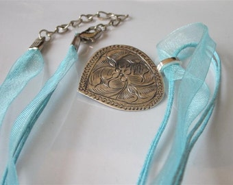 Etched Silver Necklace, Hill Tribe, Thialand Tribal Necklace Pendant, Aqua Organza, Gift For Her