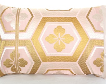 SALE! Decorative Pillow Cushion in Metallic Pink, Silver & Gold Geometric Hexagon Design made from rare Japanese Obi Silk LTD Edition