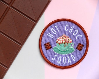 Hot Chocolate Patch, Chocolate Patch, Iron-On Patch, Hot Choc Squad, Squad, Team, Patch, Hot Chocolate, Chocolate, Hot Drink, Fun, Silly