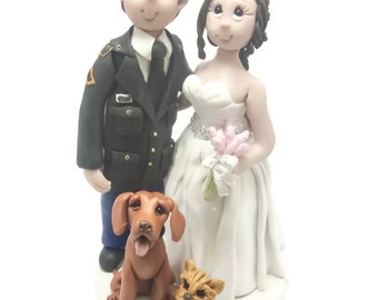 Custom wedding cake topper, personalized cake topper, Bride and groom cake topper, Mr and Mrs cake topper, Military cake topper