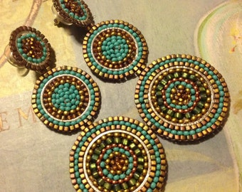 Beadwork Triple Disc Post Earrings - Big Bold Turquoise Seed Bead Earrings