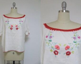 White vintage shirt, white top, hippie top, hippie shirt, boho top, boho blouse, hipster shirt, retro shirt, 60s top, hand made shirt
