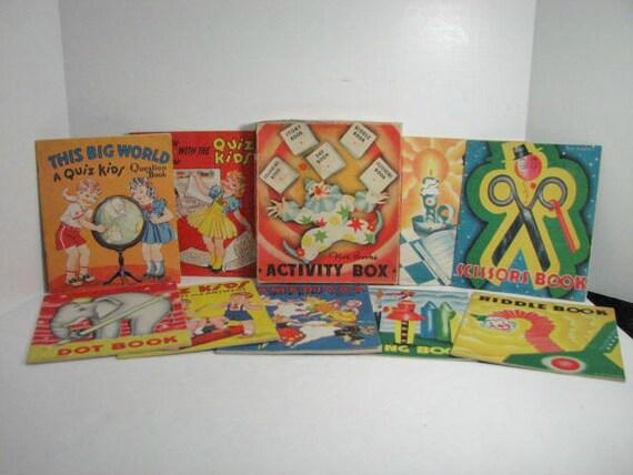 Vintage Activity Book Box Set & Quiz Kids 4 Book Set, Antique Childrens Books Saalfield ca: 1930s