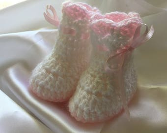 Baby girl booties, christening booties, blessing booties, three month old booties, crochet booties, crochet baby booties, baby booties
