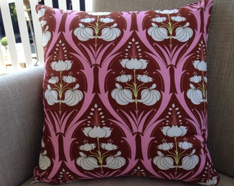 "Amy Butler Soul Blossoms ""Passion Lily"" in Mulberry with a backing fabric of french linen cushion cover/pillow 45cm"