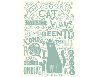 """A3 Art Print - """"Illustrated Nursery Rhyme: Pussy Cat, Pussy Cat"""" - Art Print / Typography / Hand Lettering"""