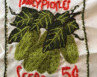 1970's embroidered pickle fan art!