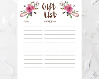bohemian tribal gift list printable pink floral gift list boho baby shower gift list bridal shower