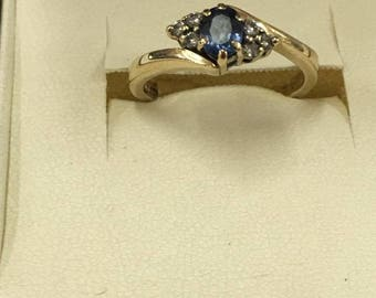 Vintage 9ct Yellow Gold Sapphire and Diamond Ring Size K 1/2