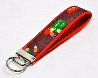 Key Fob/ Wristlet/ Keychain / School Theme / Swedish Fabric
