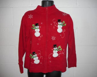 Vintage Ugly Christmas Snowman Holiday Sweater Cardigan Petite Large