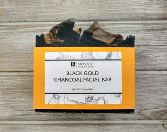 Activated Charcoal and Bentonite Clay Facial Bar, Facial Soap, Cleansing, Skincare, Soap Bar, Luxury,