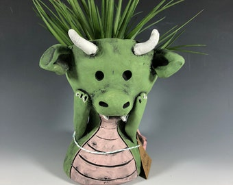 Delilah Dragon // Small Sculpture // Succulent Pot // Pothead // Planter // Ceramic // Dragon // Mythological // Cute // Adorable // Gifts