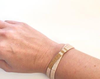 Double Wrap Woven Beaded Bracelet