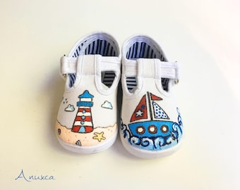 Marine hand-painted shoes