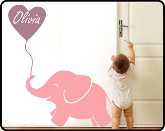 "Baby Elephant Wall Decal with Personalized Girls Name - Baby Elephant nursery art, 42"" x 50"" tall"