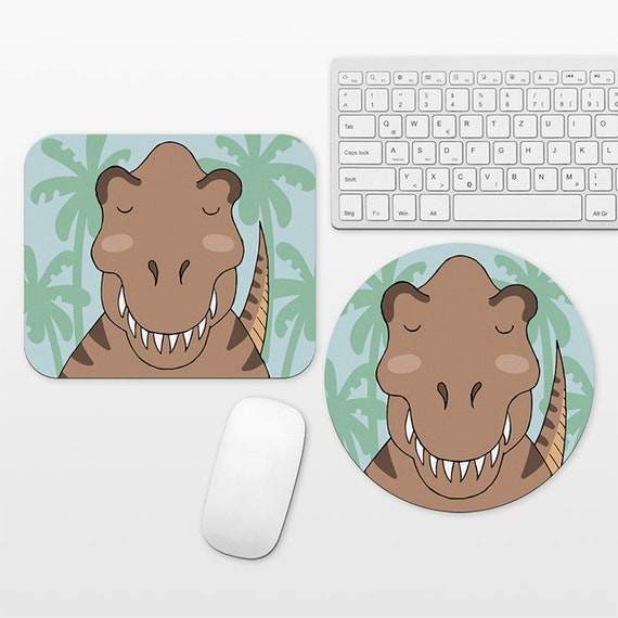 T-Rex Mouse Pad Dinosaur Mousepad Mat Fun Funny Cute T-Rex Gift for Men for Women Office Decor Desk Accessories Circle Round Rectangle