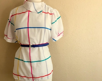 Vintage White Multicolored ASYMMETRICAL Collar Shirt / 1980s Regal Row Blouse / Womens Size Medium Large