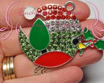 "2"" Rhinestone Christmas Birdie With Santa Hat and Holly, Winter Theme Chunky Pendant, Keychain, Bookmark, Zipper Pull, Jewelry, Purse Charm"