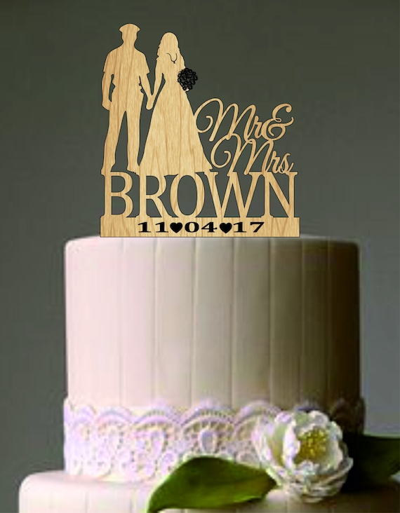 Wedding Cake Topper Silhouette Police Groom and Bride