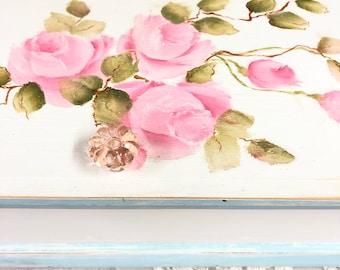 """Handpainted shabby chic box pink roses 12 1/2"""" x 6"""""""