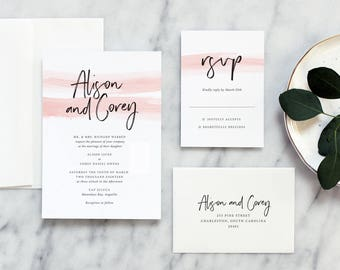 Modern Calligraphy Wedding Invitation in Blush - Deposit Payment