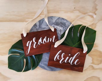 Bride and groom wedding chair signs, mr mrs, couple signs