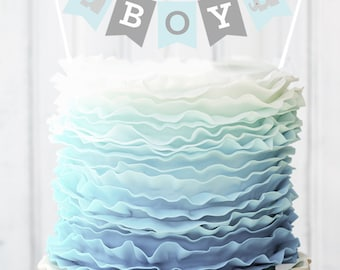 Charming Blue Elephant Baby Shower Banner For Cake Decorations   Baby Boy Shower  Ideas   Elephant Baby