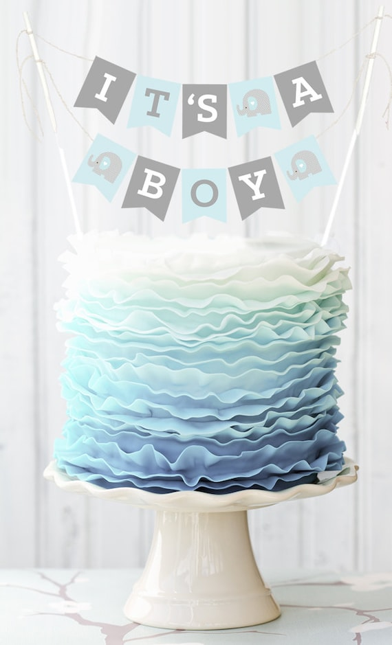 Blue Elephant Baby Shower Banner for Cake Decorations Baby