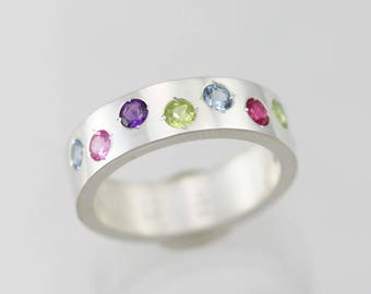 8 Stone Mother Ring in Sterling Silver (Made to Order)
