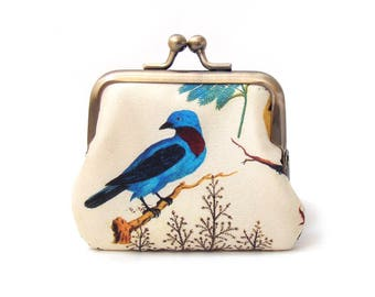 Blue and yellow birds, coin purse, silk pouch