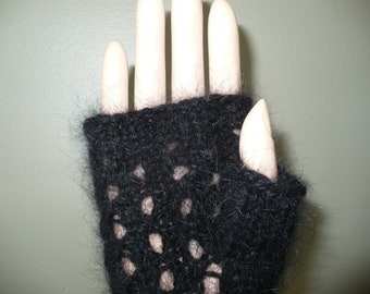 Black Lace Pattern Angora Wrist Warmers, Finger Less Mittens
