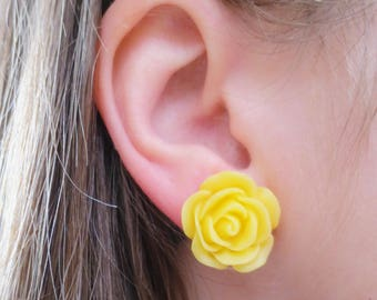 Yellow Rose Stud Earrings, Flower Earrings, Bridesmaid Gift, Yellow Roses, Yellow Flowers, Stud Earrings, Nickle Free Posts