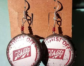 Vintage Schlitz beer bottlecap earrings!