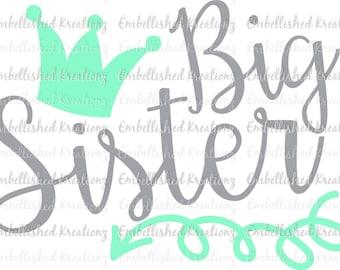 Big Sister/'Big Sister' with Crown/Arrow Vinyl Decal/Tumbler/Big Sister Shirt/Sister Shirt/Baby Announcment