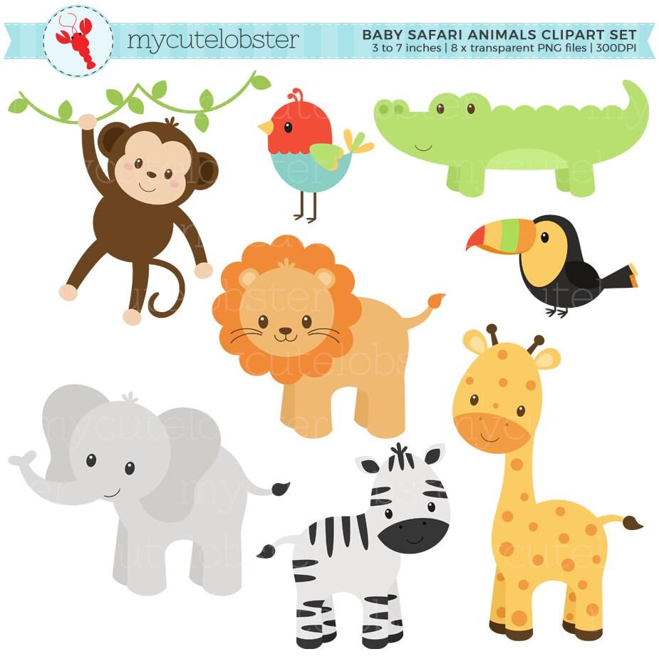 Baby Safari Animals Clipart Set clip art set of monkey
