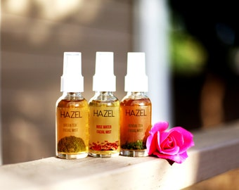 HAZEL | All Natural Facial Mist | Rose Water Mist | Herbal Tea Mist | Green Tea Mist | Moisturizer | Vitamin E | Facial Toner | Facial Mist