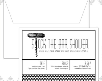 Stock the bar Shower Invitation, Wine Party Invite, Modern Wedding Shower Invite, Corkscrew Shower Invite, Couples Wedding Shower