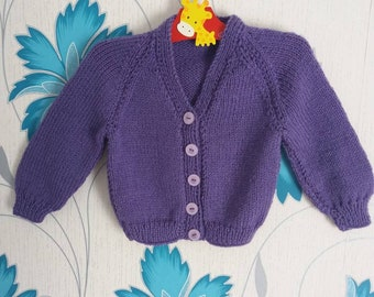 Girls Cardigan, 3 - 6 Months, Purple Cardigan, Knitted Cardigan, Baby Girl, Handmade, Hand Knitted, Baby Shower Gift, Baby Gift