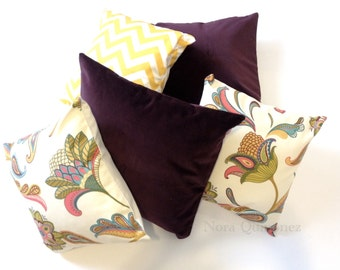 16x16 Paula Floral Print Decorative Pillow Cover - Solid Canvas Backing -Medium Weight Cotton- Invisible Zipper Closure