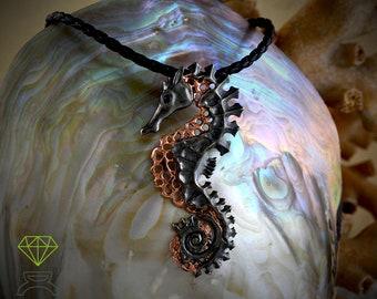 Colgante plata Caballito de mar, Colgante plata artístico, Collar plata esqueleto de caballo, Joyería del mar, Colgante unisex, Estilo boho