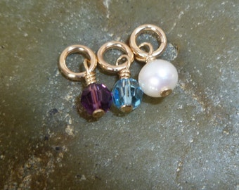 Gold Birthstone Crystal or Pearl - Add Charm - Gold Filled - Add to Necklace - Add on Dangle