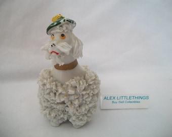 Vintage White Spaghetti Poodle Figurine Tam Hat 1950s Japan Retro Kitsch Collectible